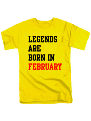 Футболка Legends are born in february желтая
