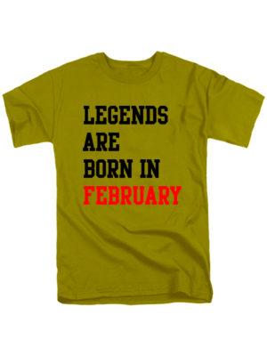 Футболка Legends are born in february оливковая