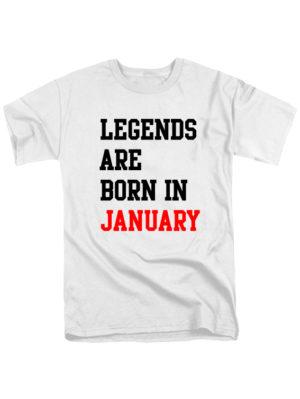 Футболка Legends are born in january белая