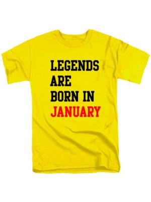 Футболка Legends are born in january желтая