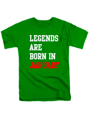 Футболка Legends are born in january зеленая