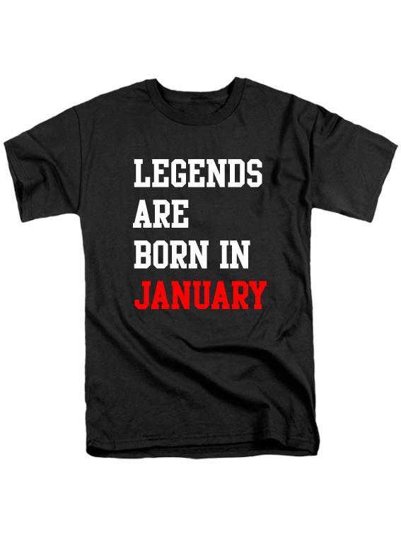 Футболка Legends are born in january черная