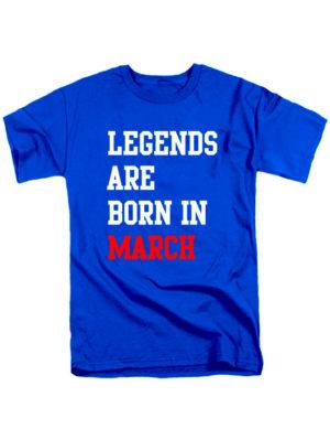Футболка Legends are born in march синяя