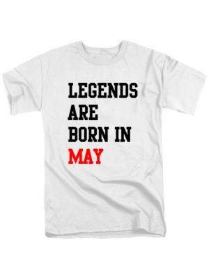Футболка Legends are born in may белая