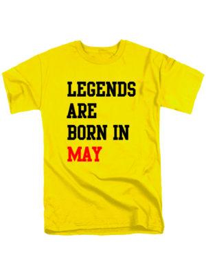 Футболка Legends are born in may желтая