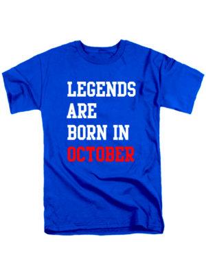 Футболка Legends are born in october синяя