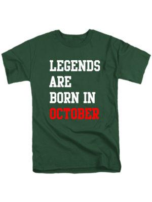 Футболка Legends are born in october темно зеленая