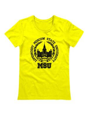 Футболка Lomonosov University женская желтая