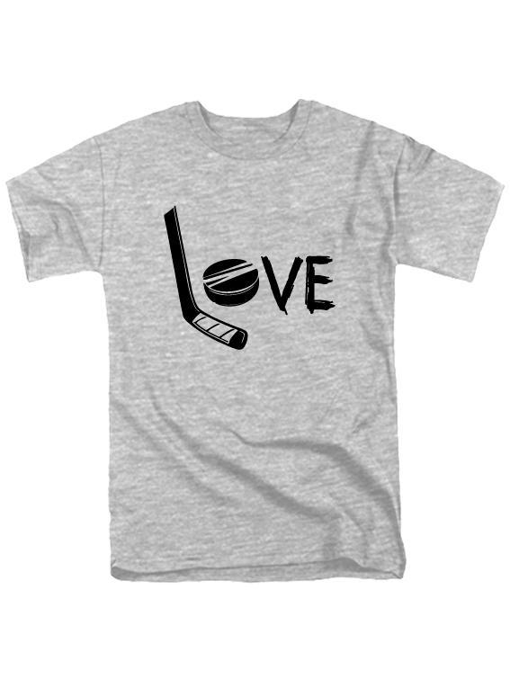 Футболка Love hockey серая