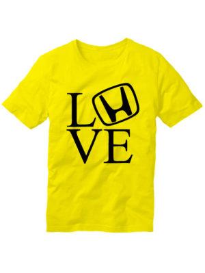 Футболка Love honda желтая
