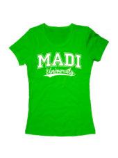 Футболка MADI University женская зеленая