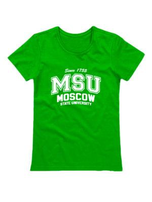 Футболка MSU женская зеленая