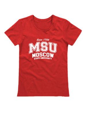 Футболка MSU женская красная