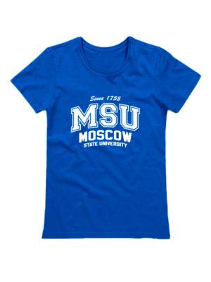 Футболка MSU женская синяя
