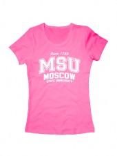 Футболка MSU женская розовая