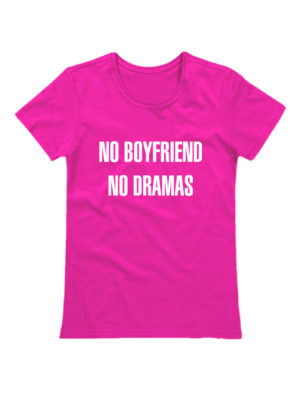 Футболка No boyfriends no dramas розовая