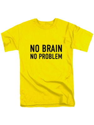 Футболка No brain желтая