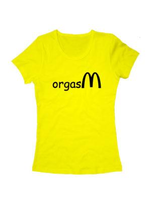 Футболка Orgasm женская желтая