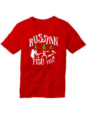 Футболка Russian fish fest красная
