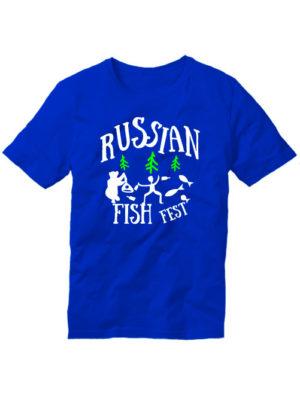 Футболка Russian fish fest синяя