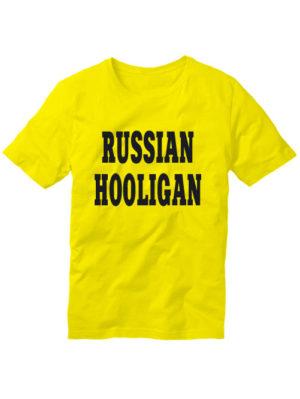 Футболка Russian hooligan желтая