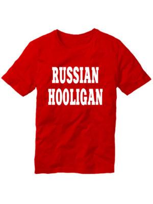 Футболка Russian hooligan красная