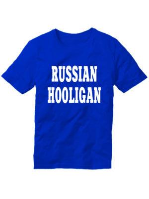 Футболка Russian hooligan синяя