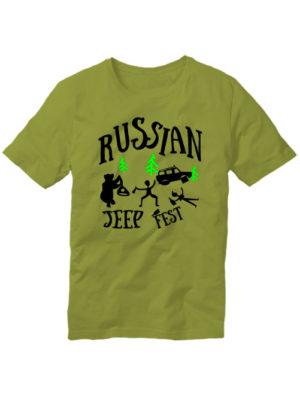 Футболка Russian jeep fest оливковая