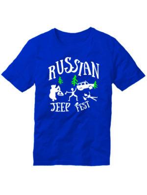 Футболка Russian jeep fest синяя