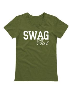 Футболка SWAG Girl хаки