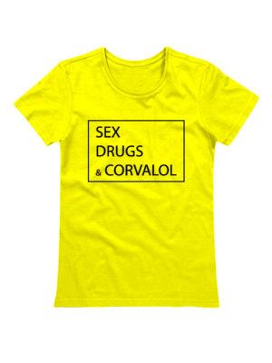 Футболка Sex drugs corvalol желтая