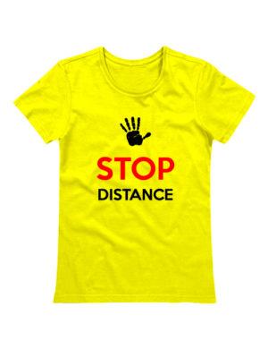 Футболка Stop Distance женская желтая