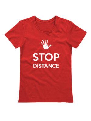 Футболка Stop Distance женская красная