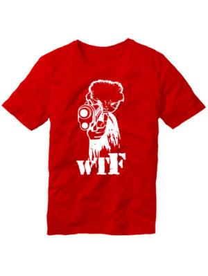 Футболка WTF с пистолетом красная