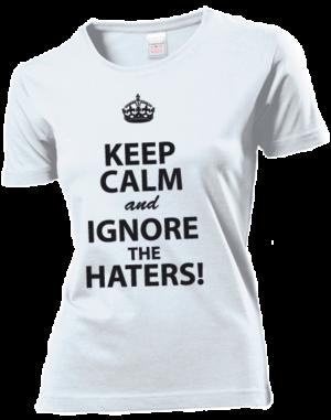 Футболка Keep calm and ignore the haters белая
