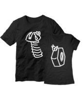 Парные футболки Винтик и гайка черные