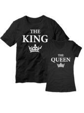 Парные футболки King Queen черные